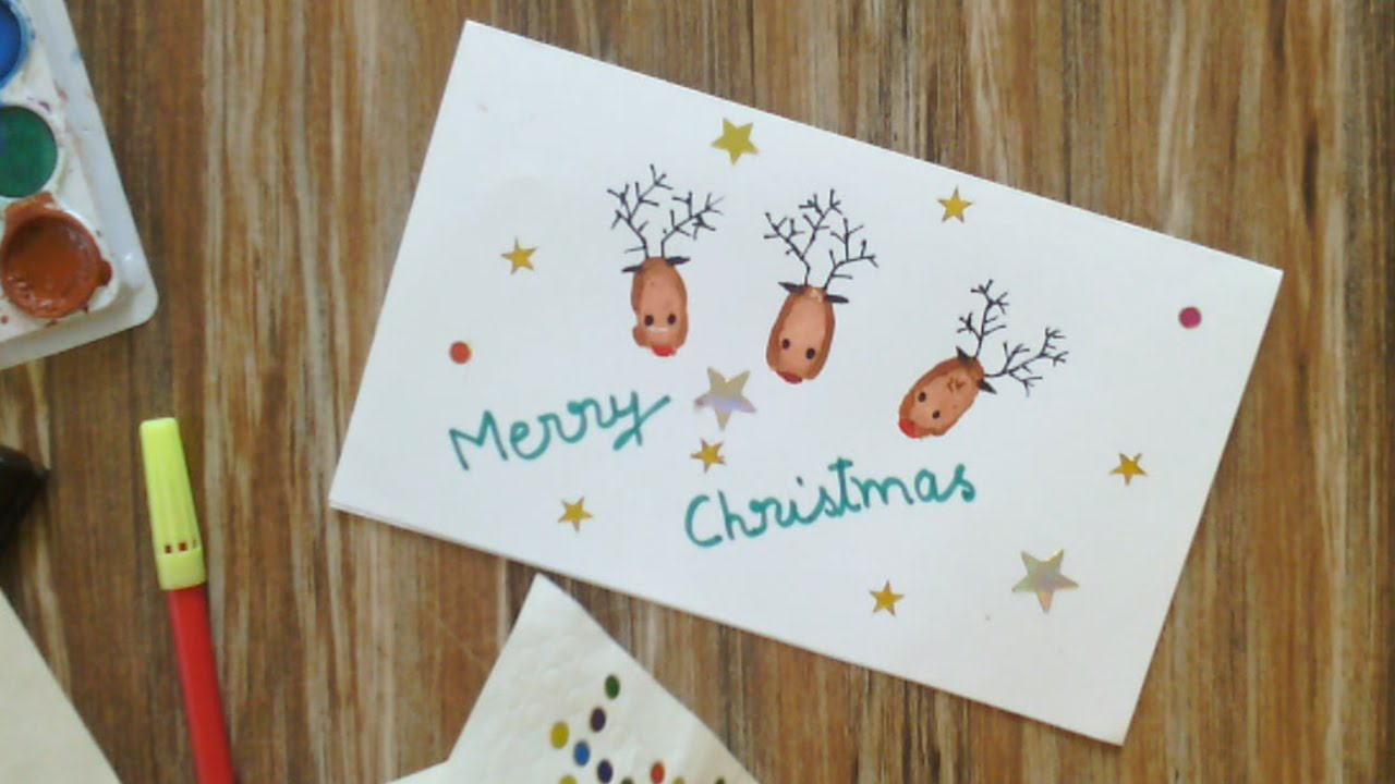 Making Christmas Cards Ideas Part - 24: Handmade Christmas Cards | Reindeer Christmas Cards - YouTube