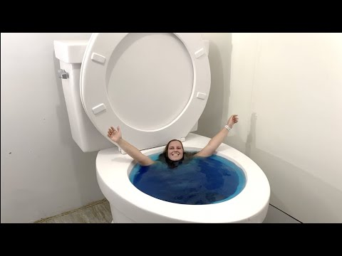 Download Going Under in the Worlds Largest Toilet Blue Swimming Pool #shorts