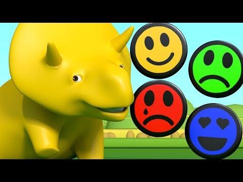 Nauka Kolorów z Uśmiechniętymi Buźkami ucz się z Dino dinozaurem Bajki Edukacyjne dla Dzieci