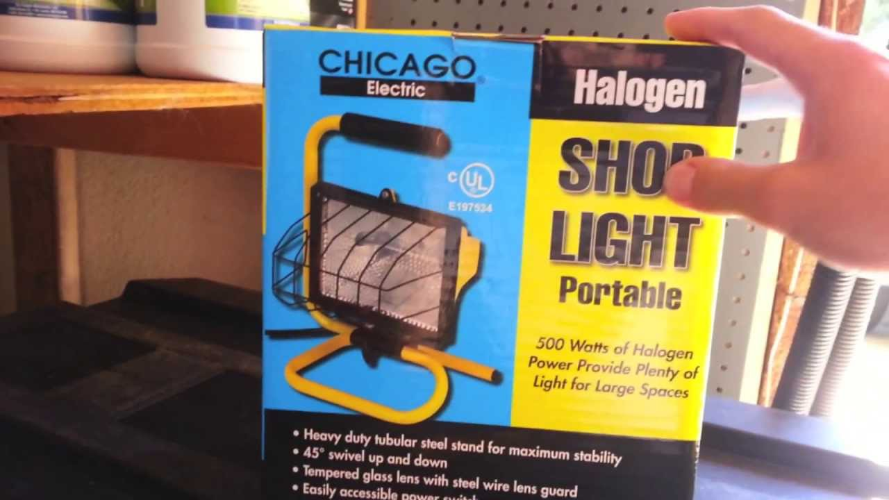 Harbor Freight Tools Portable Halogen Shop Light Review Youtube