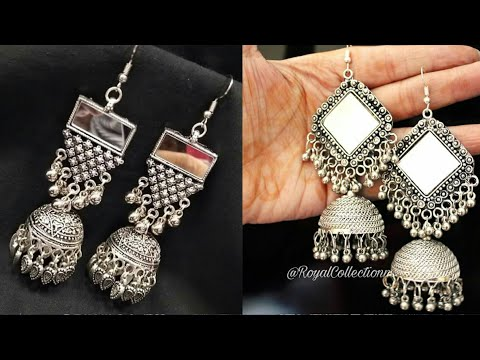 Designer Silver Mirror Jhumka Earring Collection  Antique Oxidised German Silver Jwellery  