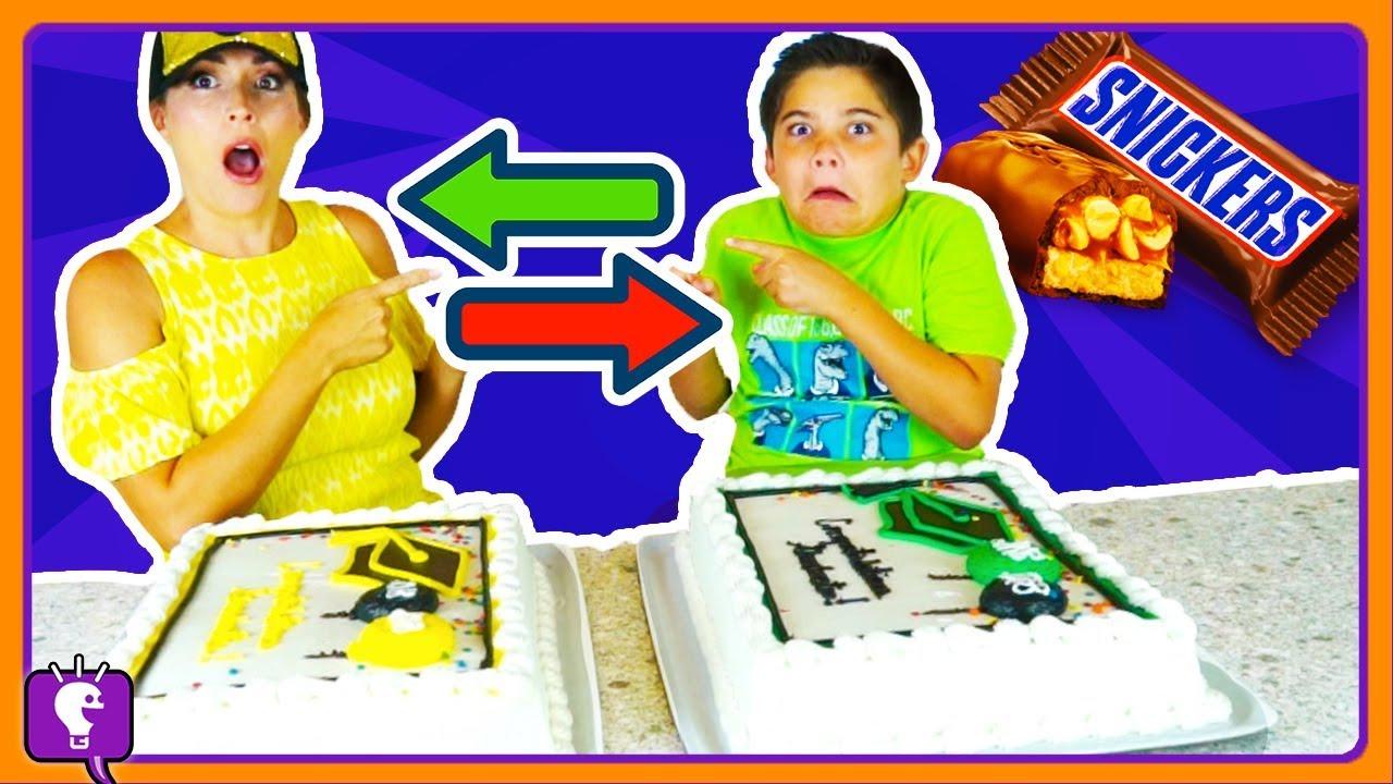 SNICKERS CAKE SWAP Challenge! HobbyPig VS HobbyMom with HobbyKidsTV