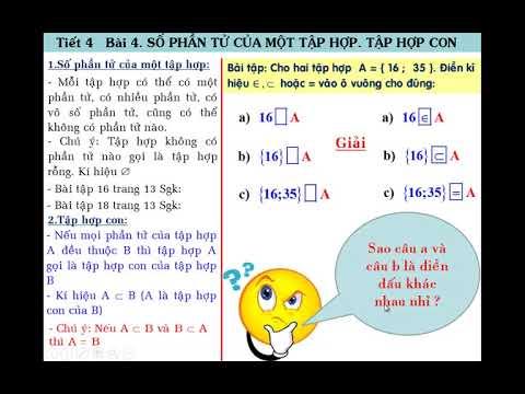 Toán học lớp 6 – Bài 4 – Số phần tử của một tập hợp, tập hợp con