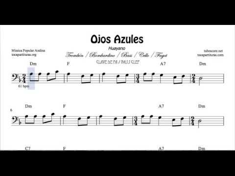 Ojos Azules Sheet Music for Trombone Cello Bassoon Tuba and - bass cleft sheet music