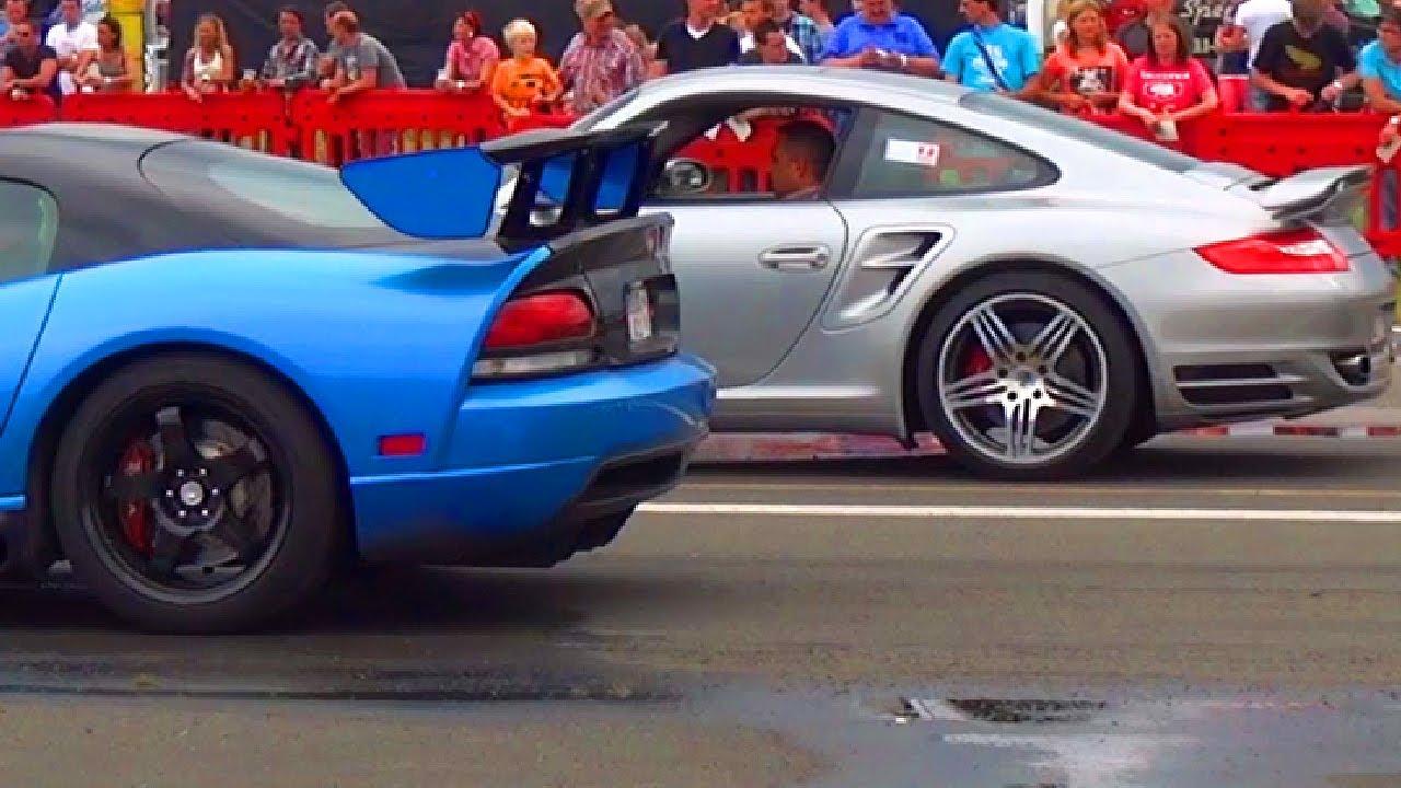 porsche 911 turbo 997 vs dodge viper srt 10 1 4 mile drag race viertelmeile rennen youtube. Black Bedroom Furniture Sets. Home Design Ideas