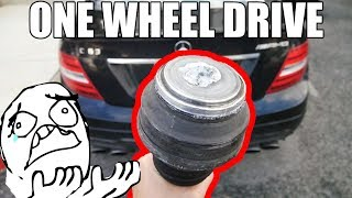 WE BROKE A C63 AMG AXLE 350 MILES FROM HOME   Converted It to One Wheel Drive!