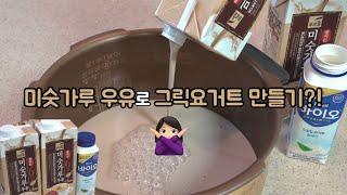 미숫가루 우유로 그릭요거트 만들기 시도 vlog