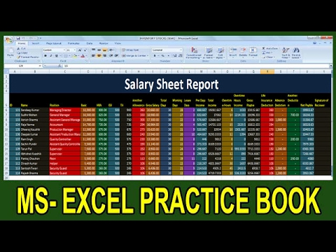 How To Make Salary Sheet In Ms Excel Tutorial In Hindi || Microsoft Office Excel Practice Book ||