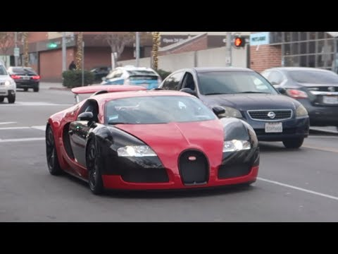 The $2M Bugatti Veyron Driving in Beverly Hills - Car Spotting in LA During the Golden Globes!