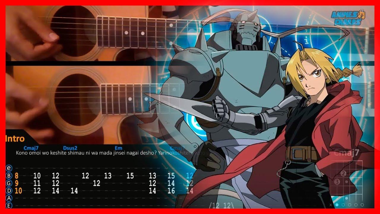 Fullmetal Alchemist Brotherhood OP 1 - again | Acoustic Guitar Lesson [Tutorial + TAB + CHORDS ...