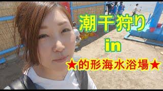 兵庫県の姫路にある的形海水浴場へ潮干狩りに行ってきました~!貝は採...