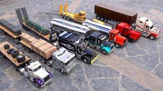7 Truck Semi Convoy Rolls through a City - 1/14th scale | RC ADVENTURES