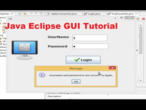 Java Eclipse GUI Tutorial 6 # Login Program for java with sqlite database  PART- 2