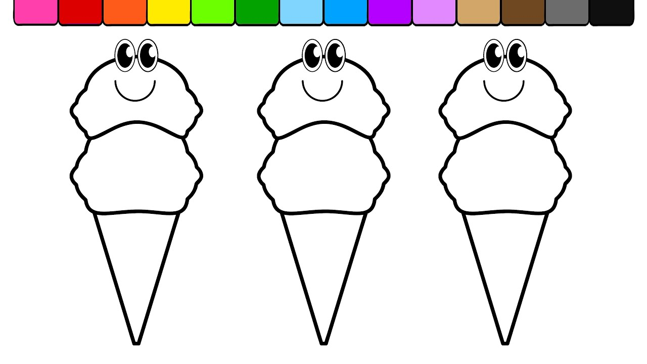 Coloring pictures of ice cream cones - Learn Colors For Children And Color Double Ice Cream Cones Coloring Page