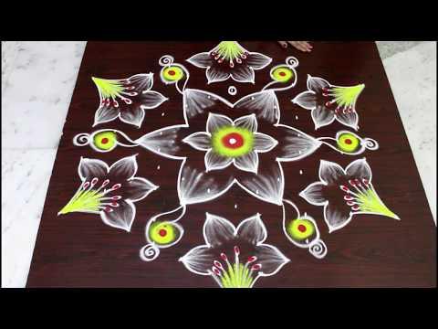 Beautiful flower kolam with colors for Pongal - sankranti muggulu - simple and easy rangoli art