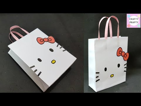 How to make Paper Bag/ DIY Hello kitty Paper Bag/DIY Paper bag for treat/DIY Goodie bag /candy bag
