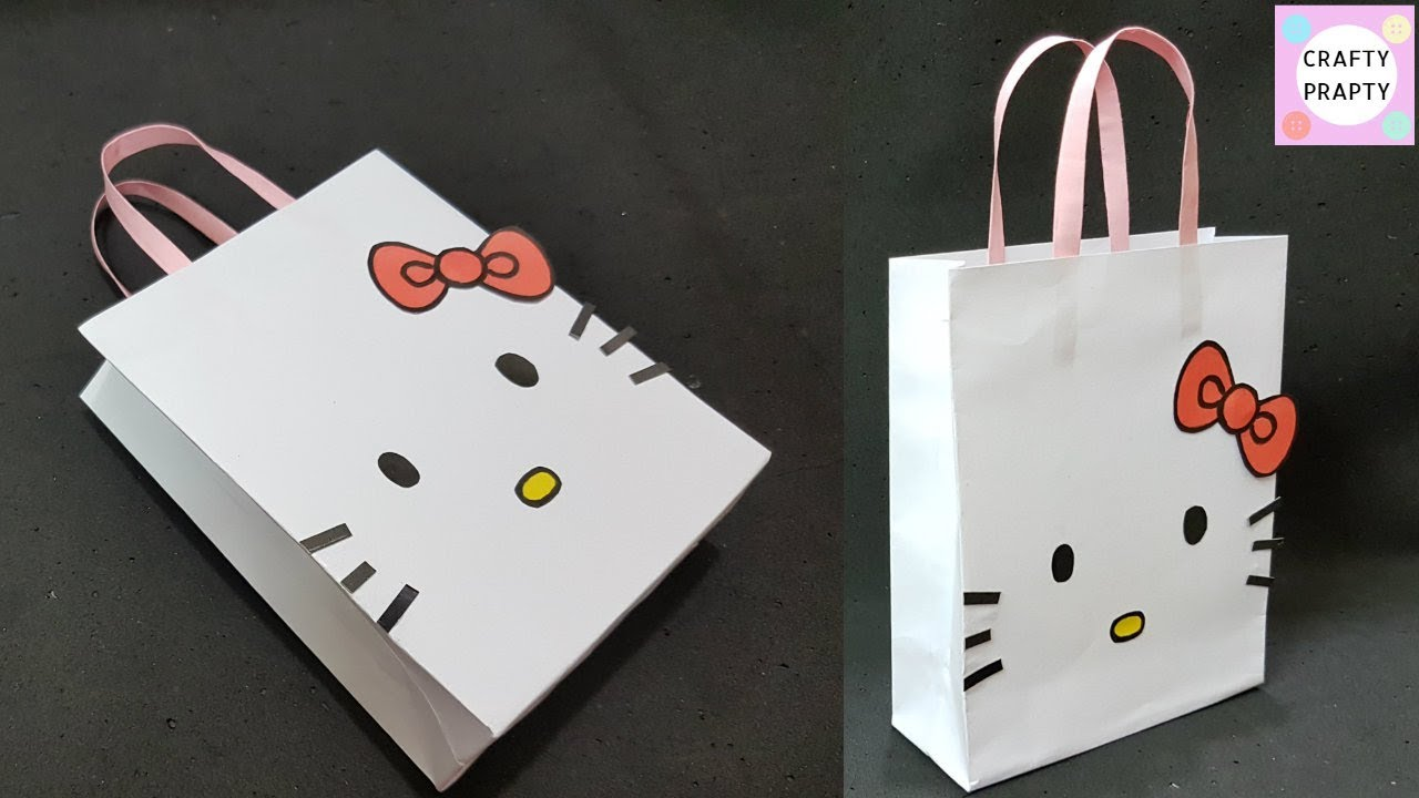 c0b3bda71385 How to make Paper Bag  DIY Hello kitty Paper Bag DIY Paper bag for ...