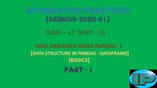 Informatic Practices | Class 12 | IP | Data Handling Using Pandas -1 | DataFrame | Part 1  | Python