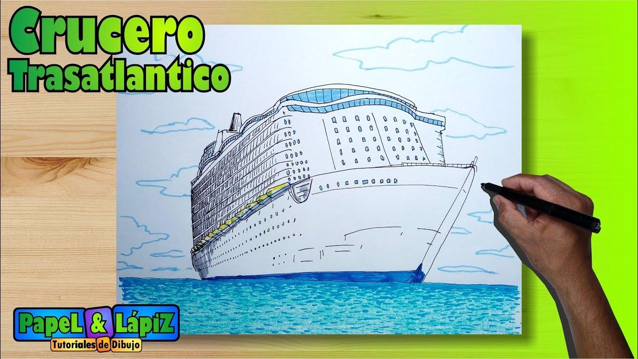 Dibuja y pinta un enorme Barco crucero trasatlántico