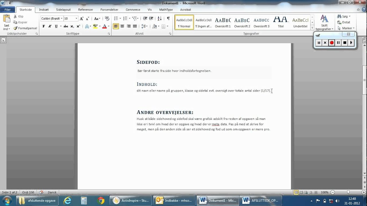 Hvordan opsætter man en opgave grafisk 2012