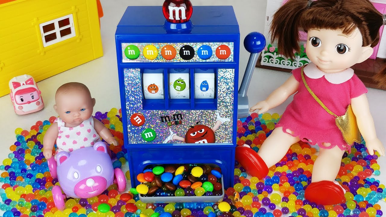 M M S Candy Dispenser Slot Machine And Baby Doll Orbeez