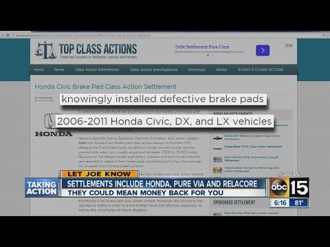 Class action settlements include Honda, Pure Via and Relacore