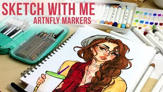 Sketch With Me // ArtnFly Marker Review // Jacquelindeleon