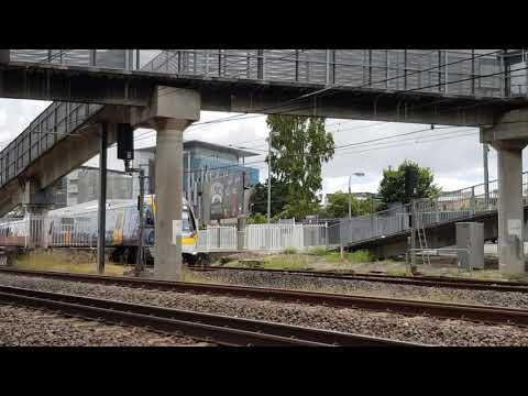 Queensland Rail NGR & EMU at Albion station.