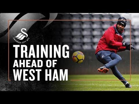 Training ahead of West Ham at the Liberty Stadium ❄️