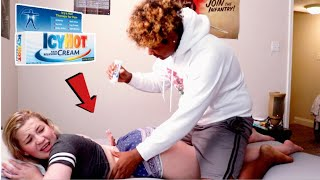 ICY HOT MASSAGE PRANK ON GIRLFRIEND!! (SHE FREAKED OUT)