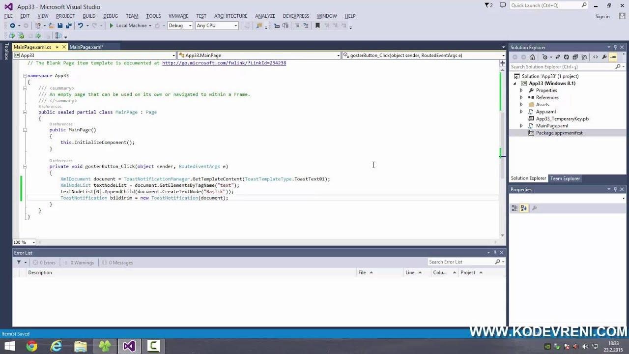 C# İle Windows Store Uygulaması Geliştirme - Toast Notifications