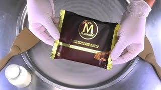 Ice Cream Rolls with MAGNUM Chocolate Almond - how to make Magnum Chocolate Ice Cream | ASMR mukbang