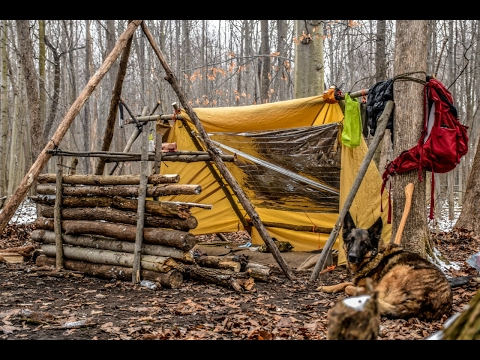 Overnight Bushcraft Camp with my Dog - Long Fire, Wool Blank