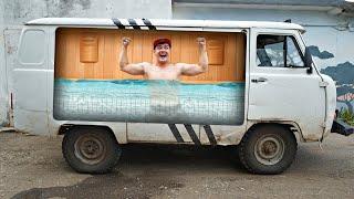 Сделали бассейн на колесах внутри Буханки