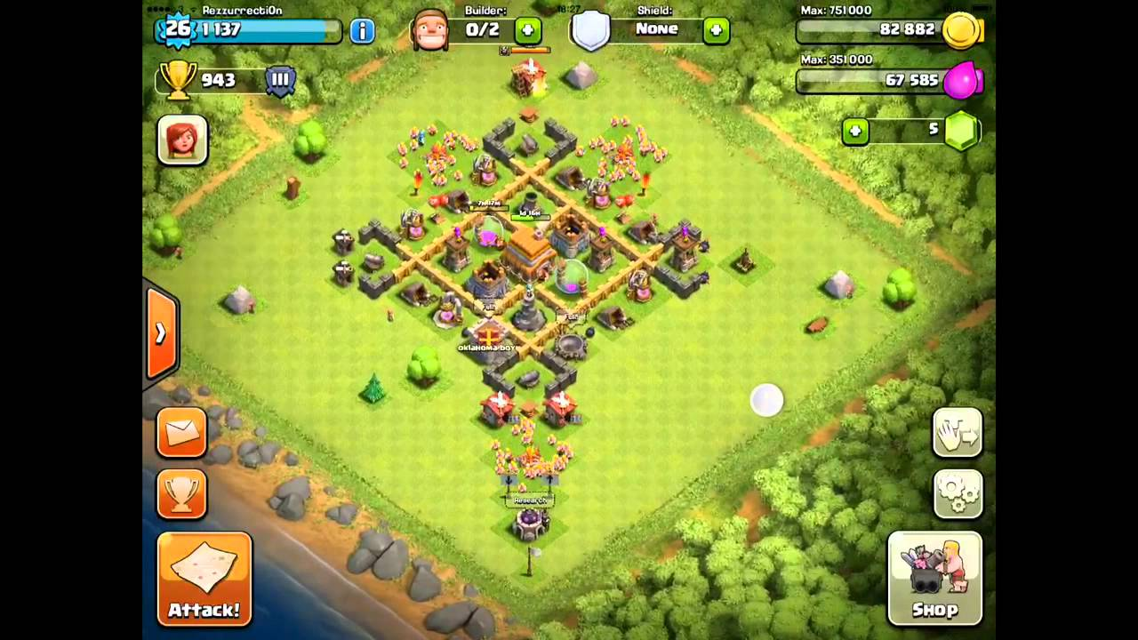 Clash of clans th5 best trophy base youtube