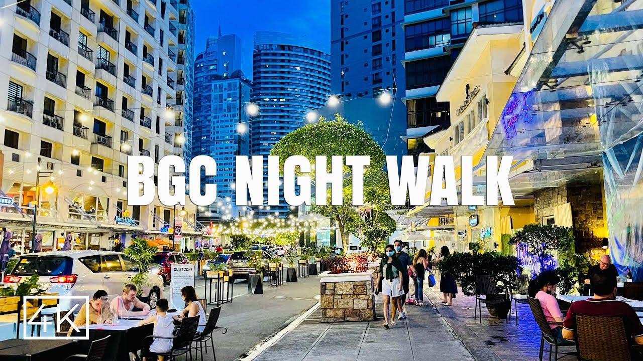 [4K] BGC Night Walk w/ many fun activities – al-fresco dining, food & plant market, car free street