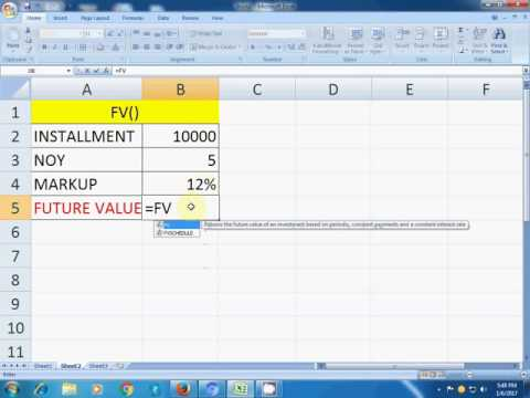 fv() function in excel hindi