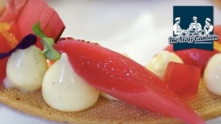 Heather Kaniuk creates Vanilla poached Rhubarb, custard cremeux and Scottish shortbread
