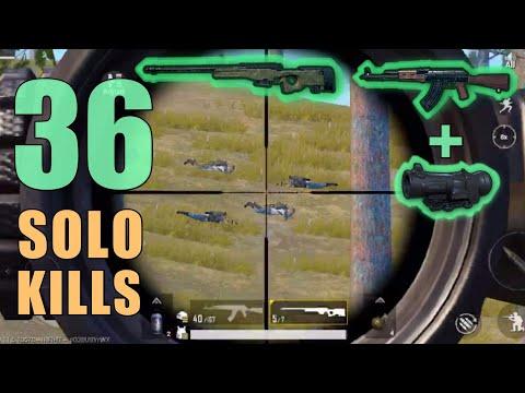 AKM + 6x Scope + AWM MY RECORD!!! | 36 SOLO KILLS | PUBG Mobile