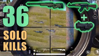 AKM + 6x Scope + AWM MY RECORD!!! | 36 SOLO KILLS | PUBG Mobile