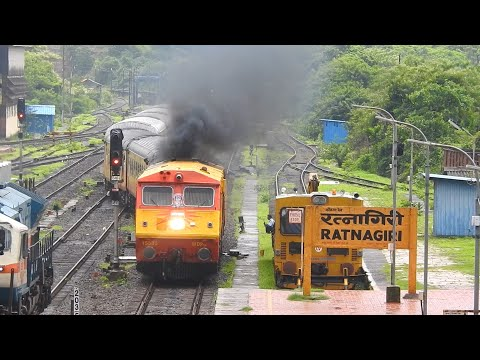 Tejas Livery Kalyan WDP-3A 15535 With 22119 CSTM - Karmali Tejas Express Arriving Ratnagiri