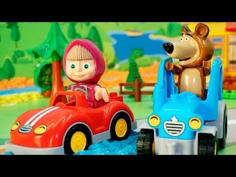 Видео с игрушками Маша и Медведь - новая машина. Игрушечные мультфильмы для детей