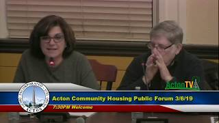Acton Community Housing Corp Public Forum - 3 -6 -2019