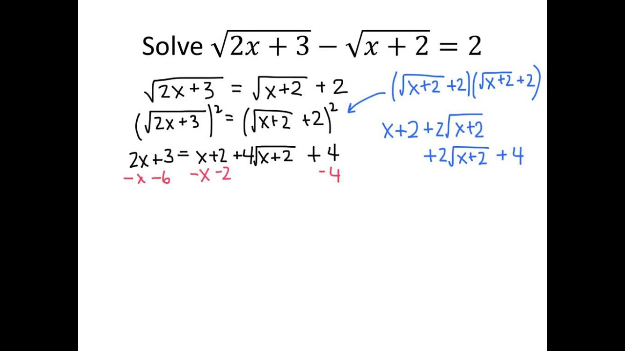 Example Solving A Radical Equation (square Twice)  Youtube