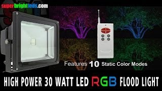 led flood light color changing 30 watt rgb fixture with remote