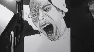 Drawing Time-lapse: Screaming Man