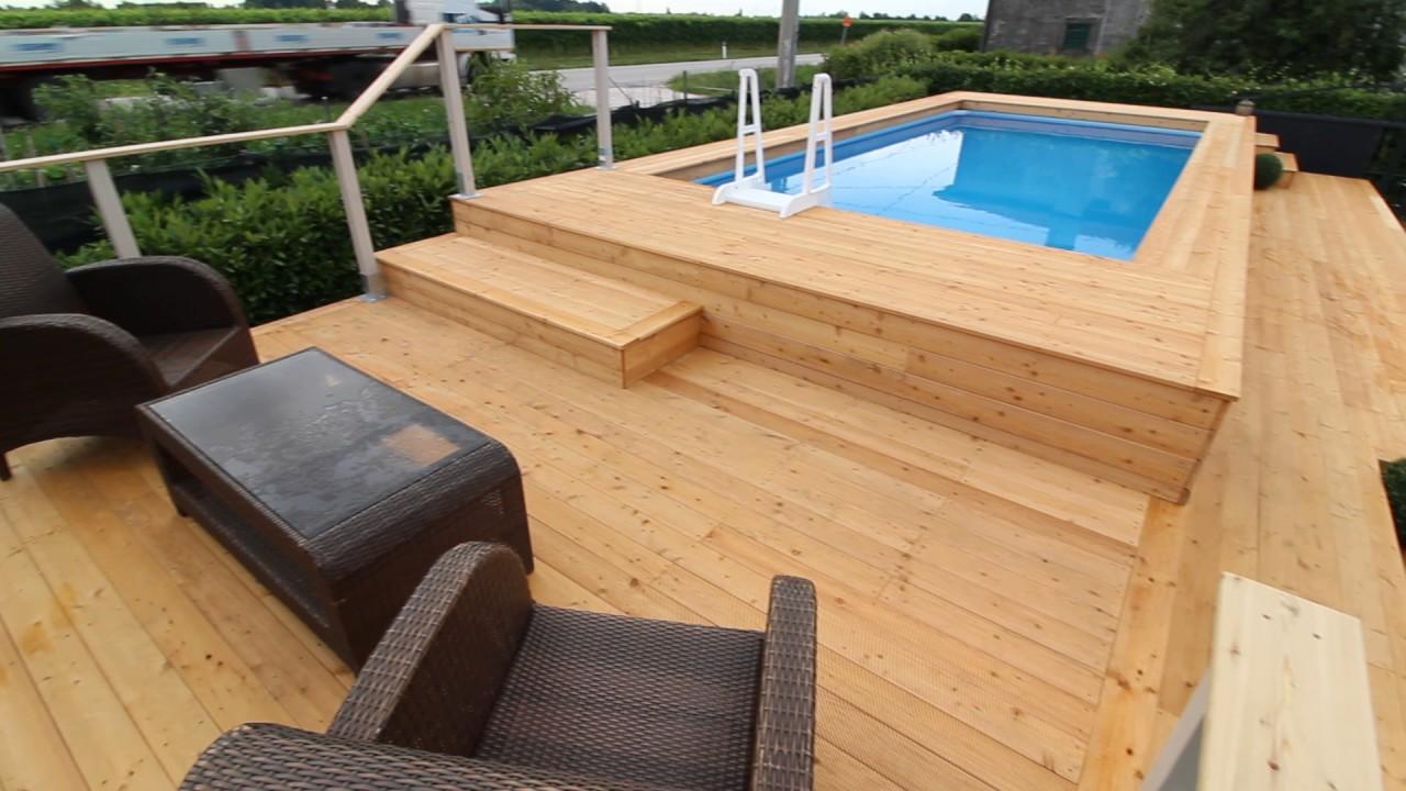 Piscina fuori terra rivestita in legno di larice siberiano - YouTube