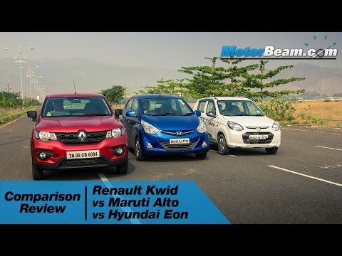 Renault Kwid vs Maruti Alto 800 vs Hyundai Eon - Comparison Review | MotorBeam