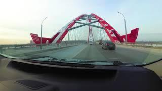 Бугринский мост, Новосибирск. Вид из автомобиля