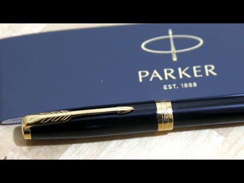 UNBOXING - PARKER Sonnet Fountain Pen, Black Lacquer with Gold Trim, Medium Nib